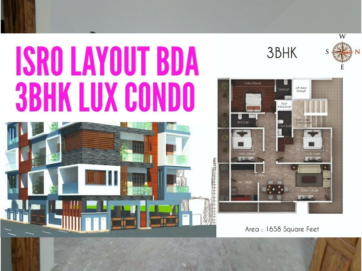 ISRO Layout Banashankari BDA – 3BHK Exclusive Condo For Sale – Corner Flat with 4 Balconies