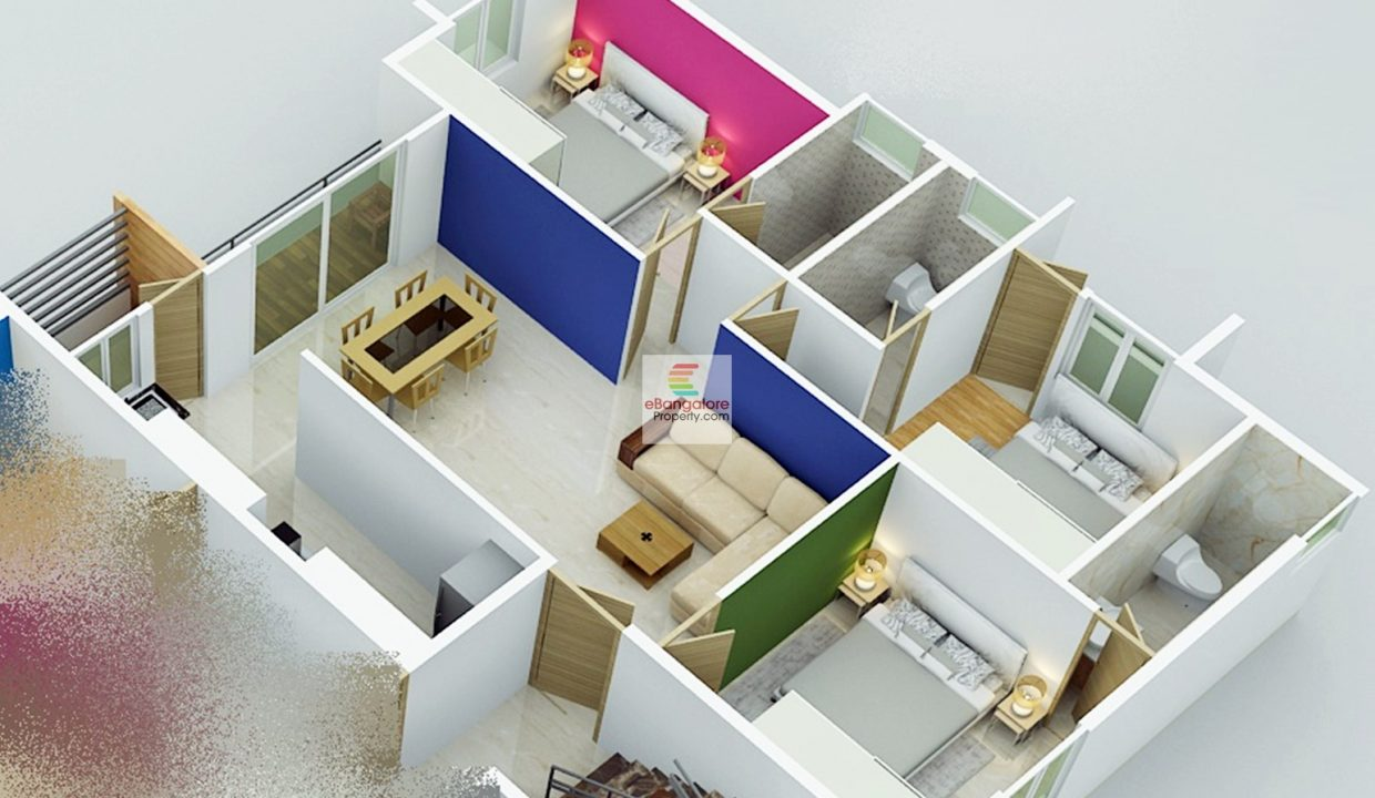 3d Plan for 3bhk Flat sale in RT Nagar