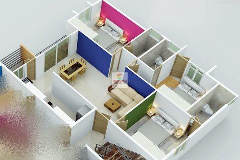 3d Plan for 3bhk Flat sale in RT Nagar