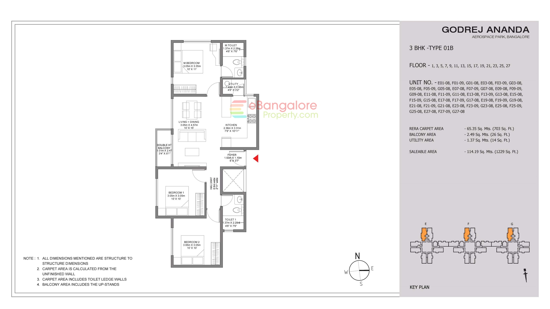 3BHK Type 01A (East Facing)